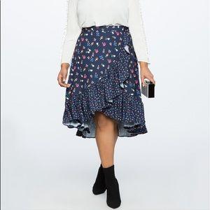 NEW • Eloquii • Ruffled Mixed Print Midi Skirt 22